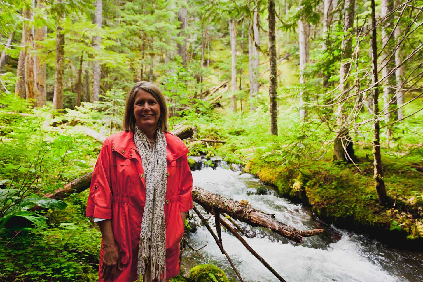 My mother at Little Zigzag Falls, Oregon